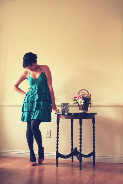green H&M dress - gray Gap tights - ruby red Style & Co pumps