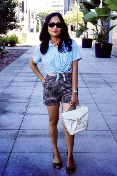 black polka dottes Wet Seal shorts - light blue American Apparel blouse