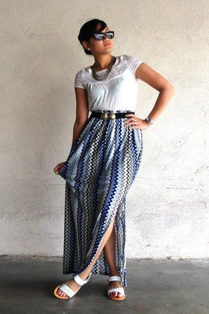 light blue printed maxi DIY skirt - black Urban Outfitters belt