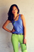 chartreuse BDG pants - charcoal gray tank American Apparel top