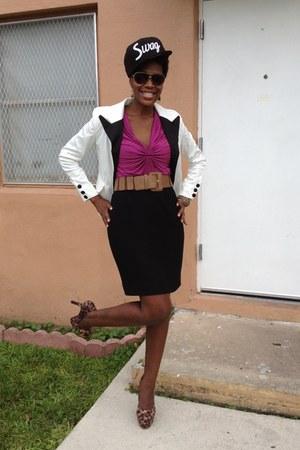 black thrifted vintage skirt - white vintage from Ebay blazer - pink Guess shirt