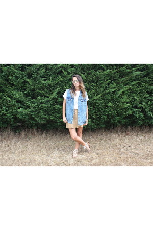 pull&bear jacket - thrifted vintage skirt - Primark t-shirt - BLANCO sandals