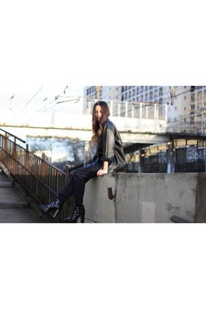 Zara boots - polux bag - hm blouse