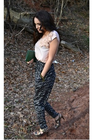 Urban Outfitters purse - H&M pants - Bandolino sandals - H&M blouse - thrifted v