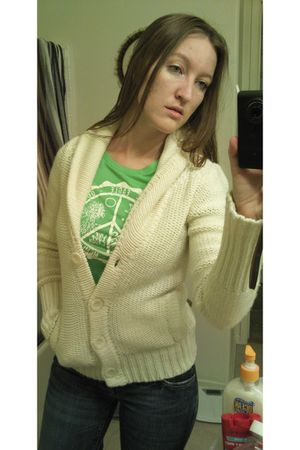 beige American Eagle sweater - green American Eagle shirt - blue American Eagle