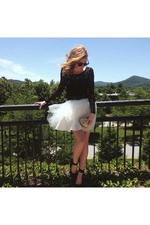 white tulle tutu free people skirt - black bodycon H&M dress
