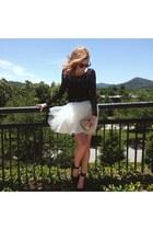 white tulle tutu free people skirt - black bodycon H&M dress
