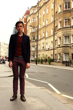 navy Zara blazer - maroon chinos Topman pants - crimson ribbed t-shirt
