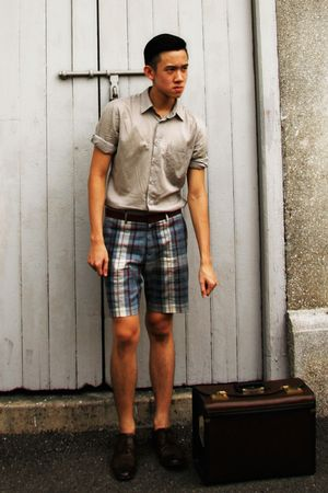 beige Topman shirt - green Topman shorts - brown Zara shoes - brown vintage bag