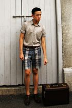 beige Topman shirt - green Topman shorts - brown Zara shoes - brown vintage bag