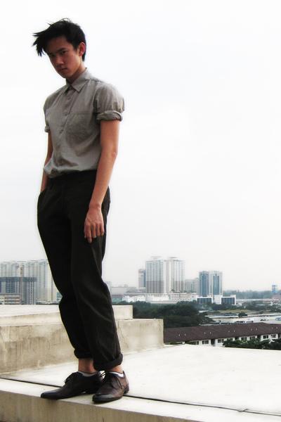 beige Topman shirt - brown Massimo Dutti pants - brown Zara shoes