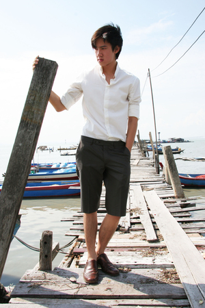 white button down seed shirt - brown leather Primavera shoes