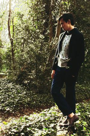 dark brown oxford shoes - navy shirt - charcoal gray Topman jumper - blue Uniqlo