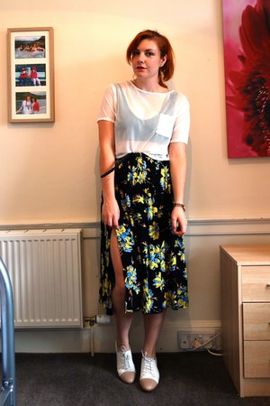white mesh crop Primark t-shirt - Topshop skirt - black Primark bra