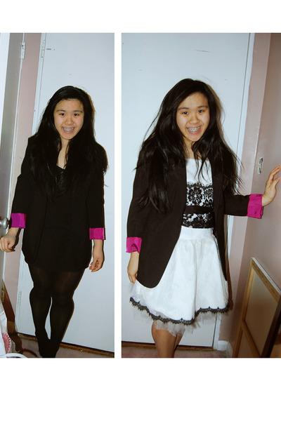 b49918b6034 white Jessica McClintock dress - black blazer - black dress - black tights  - bla