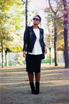 black MINUSEY jacket - black Sacha shoes - black asos skirt - white Zara top
