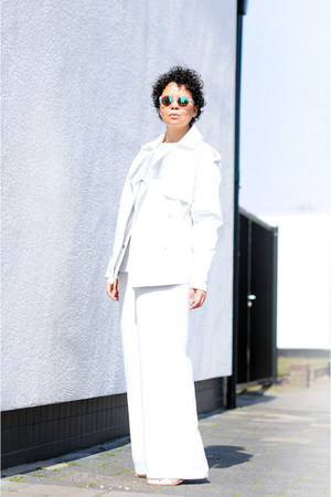 white Frontrowshop jacket - white H&M sunglasses - white thrifted pants