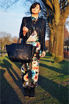 blue H&M pants - black ohmyfrock jacket - black ArrogantMinnie bag