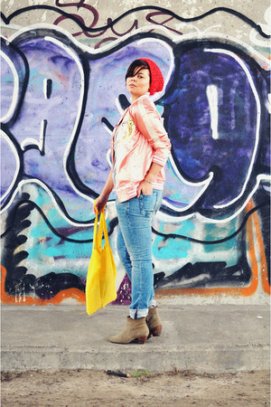 bubble gum asoscom jacket - tan Isabel Marant boots - blue REPLAY jeans 4fedf96b50127