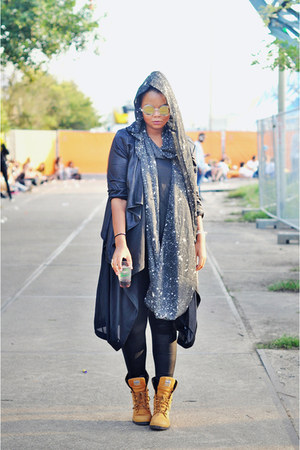 tawny Palladium boots - dark gray Monki scarf - gold asos sunglasses