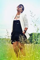 black vintage chanel sneakers - white Zara blazer - black vintage romper