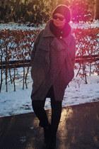 gray asos coat - black Zara boots - black rayban sunglasses