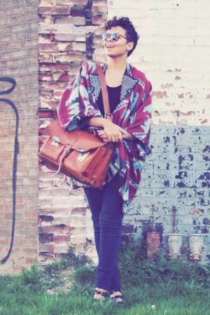 brown bag - gold accessories - black shoes - black t-shirt - blue jeans