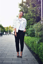 black Prada heels - black Zara pants - white H&M necklace - white H&M t-shirt