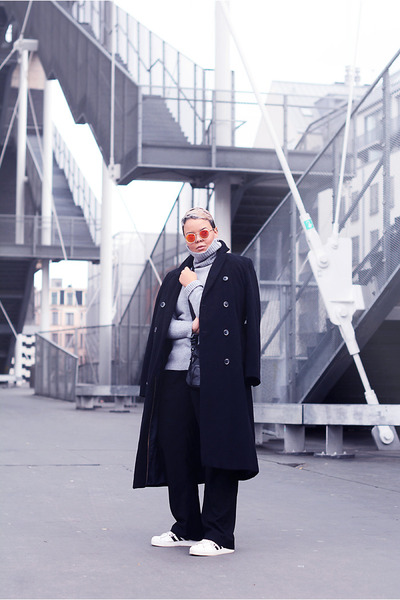 Laura Clement coat - unknown sweater - emporio armani pants - Adidas sneakers
