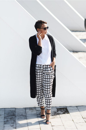 white Missguided pants - black Vila cardigan - white vintage blouse