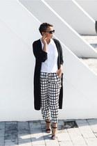 white Missguided pants - black Vila cardigan - white vintage blouse