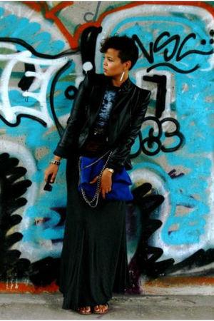 blue Zara bag - black FCUK shoes - black SuperTrash jacket