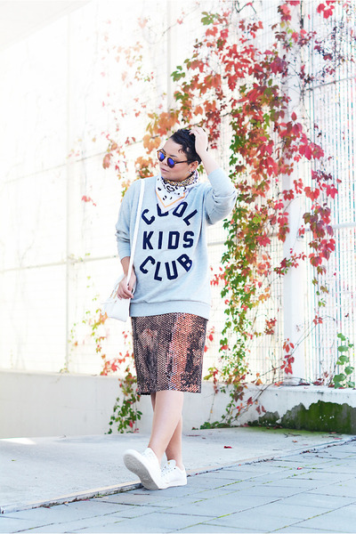 brown asos sunglasses - silver asos earrings - white Adidas sneakers