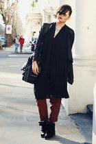black COS top - black Zara bag - white asos glasses - black Ebay sneakers
