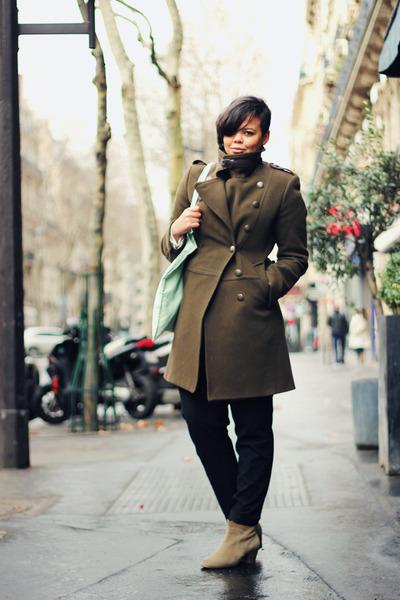 army green Zara coat - camel Isabel Marant boots - aquamarine Charlotte Kan bag