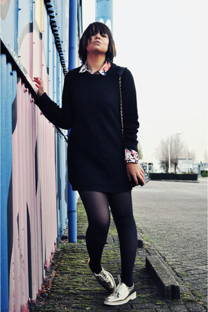black vintage chanel bag - light yellow Zara shoes - black Zara sweater