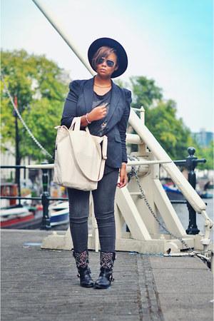 black Zara boots - heather gray pieces jeans - black vintage hat