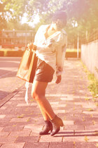 acne blouse - Sacha boots - Ramon Middelkoop bag - vintage shorts