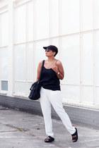 black Alexander Wang bag - black Birkenstock sandals - white Mango pants