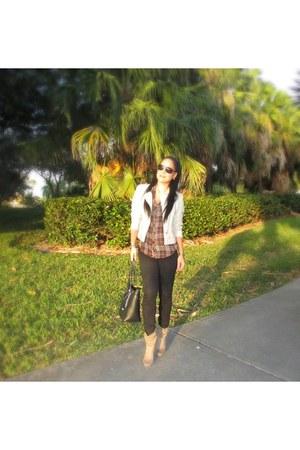 faux leather Charlotte Russe jacket - denim Guess jeans - plaid Guess shirt