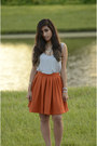 Orange-zara-skirt-grey-cotton-h-ampm-top