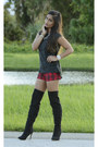Asos-boots-tartan-forever-21-shorts-henri-bendel-accessories