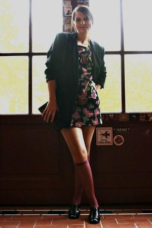 vintage dress - 80s Vintage oversized blazer - Vintage nylon stockings - 60s vin