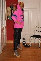 hot pink vintage hoodie - black Vintage leather pants