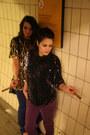 Magenta-skinny-jeans-blue-skinny-jeans-purple-vintage-sequin-blouse-vintag