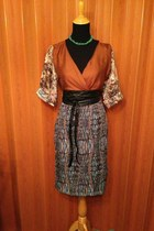 burnt orange handmade by me dress - green handmade by grandma necklace