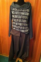 heather gray handmade blouse - light brown aladdin pants pants