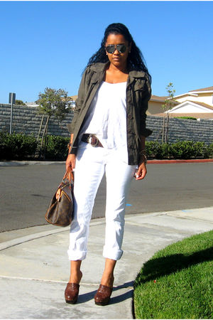 white jeans - green jacket - brown shoes - brown bag - white top