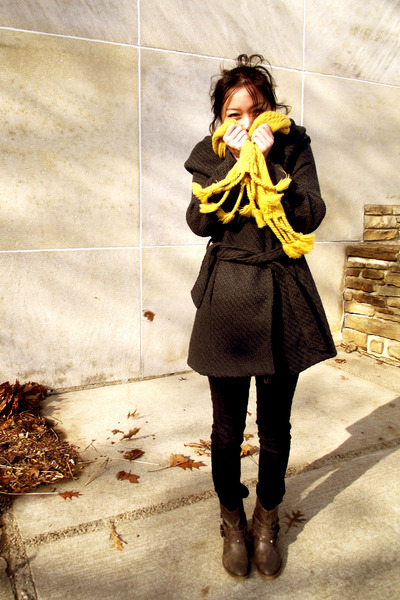 dark gray Wet Seal coat - black Forever 21 jeans - dark brown Mossimo boots - go