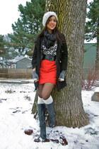 H&M skirt - Steve Madden boots - Aldo hat - H&M sweater - Express scarf